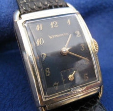 ANTIQUE WITTNAUER 14K YELLOW GOLD MENS BLACK RECTANGLE BOX MECHANICAL WATCH #815