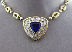 ESTATE MASSIVE 14.87CT DIAMOND & AAA TANZANITE 18K YELLOW GOLD TRILLION NECKLACE