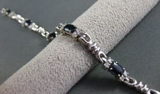 ESTATE 5.51CTW AAA SAPPHIRE & DIAMOND 14K WHITE GOLD FANCY LINK BRACELET #1463