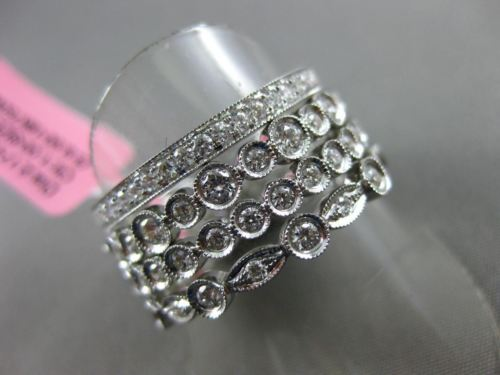 ESTATE WIDE 3.17CT DIAMOND 18K WHITE GOLD 3D MULTI SHAPE ETERNITY STACKABLE RING