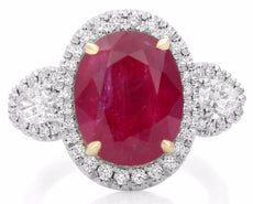 GIA CERTIFIED 10.5CT DIAMOND & AAA RUBY 18K YELLOW GOLD PLATINUM ENGAGEMENT RING