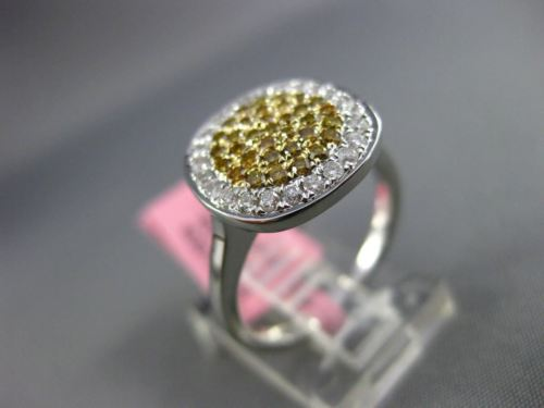 ESTATE WIDE .61CT FANCY DIAMOND 18KT TWO TONE GOLD 3D PAVE CIRCULAR CLASSIC RING