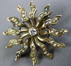 ESTATE LARGE .15CT DIAMOND & AAA SOUTH SEA PEARL 14KT YELLOW GOLD PENDANT BROOCH