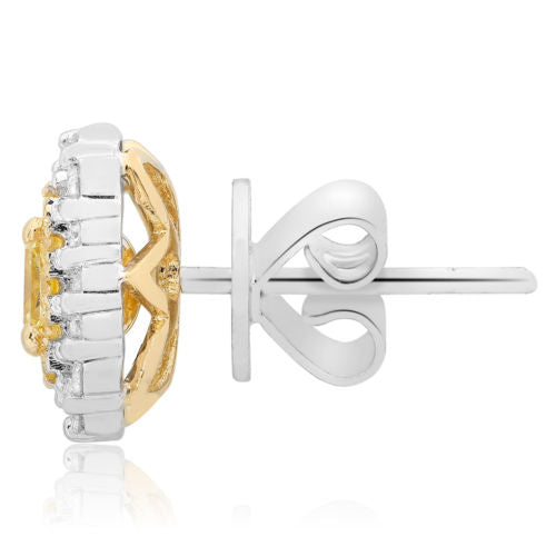 LARGE 1.16CT WHITE & FANCY YELLOW DIAMOND 18KT 2 TONE GOLD CLASSIC STUD EARRINGS