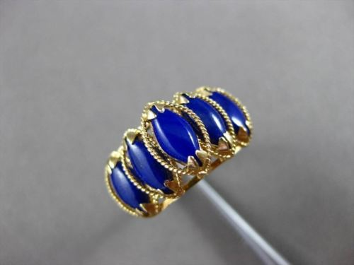 ANTIQUE AAA MARQUISE LAPIS 14KT YELLOW GOLD GRADUATING ROPE PYRAMID RING #23976