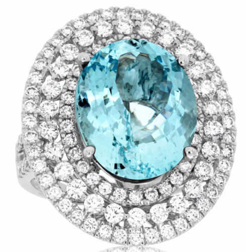 ESTATE LARGE 11.75CT DIAMOND & AAA AQUAMARINE 14KT WHITE GOLD OVAL COCKTAIL RING