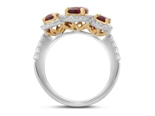 GIA CERTIFIED 2.83CT DIAMOND & AAA RUBY 18KT 2 TONE GOLD 3 STONE ENGAGEMENT RING