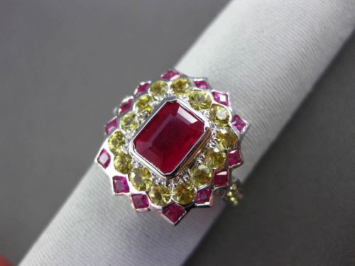 ANTIQUE 3.0CT AAA RUBY & YELLOW SAPPHIRE 18K WHITE GOLD 3D BEZEL ENGAGEMENT RING
