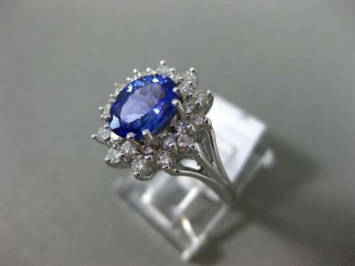 LARGE 2.0CT DIAMOND & AAA OVAL TANZANITE 14KT WHITE GOLD FLOWER ENGAGEMENT RING