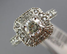ESTATE WIDE .90CT ROUND DIAMOND 14KT WHITE GOLD 3D HALO OCTAGON ENGAGEMENT RING