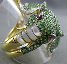 ESTATE 5.15CTW RUBIES, EMERALD & DIAMOND 18KT YELLOW GOLD ELEPHANT FUN RING