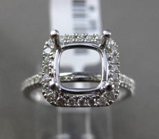 ESTATE LARGE .35CT DIAMOND 18KT WHITE GOLD HALO SEMI MOUNT ENGAGEMENT RING