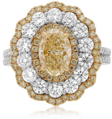 LARGE 4.6CT WHITE PINK & FANCY YELLOW DIAMOND 18K TRI COLOR GOLD ENGAGEMENT RING