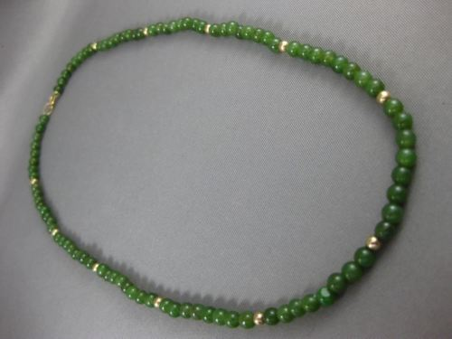 ANTIQUE AAA JADE 14KT YELLOW GOLD 3D BEAD NECKLACE 3.5mm WIDE BEAUTIFUL #24672