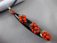 ANTIQUE MASSIVE VICTORIAN ONYX & CORAL 14KT YELLOW GOLD 3D DROP NECKLACE #24097