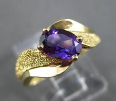 ESTATE WIDE 1.0CT AAA AMETHYST 14KT YELLOW GOLD SOLITAIRE COCKTAIL RING #22646