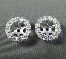 ESTATE .40CT DIAMOND 14KT WHITE GOLD 3D CLASSIC ROUND HALO JACKET EARRINGS 9mm