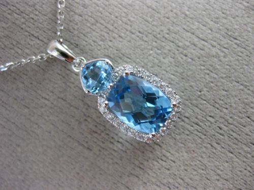 2.22CT DIAMOND & AAA CUSHION CUT BLUE TOPAZ 14KT WHITE GOLD RECTANGULAR PENDANT