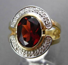 ANTIQUE LARGE 1.72CTW AAA GARNET & DIAMOND 14KT YELLOW GOLD OVAL COCKTAIL RING