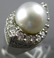ESTATE LARGE ROUND 1.25CT & AAA SOUTH SEA PEARL PLATINUM 3D BOAT LUCKY EYE RING
