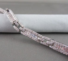 ANTIQUE 5.74CT WIDE 18KT GOLD DIAMOND BAGUETTE & ROUND BRACELET