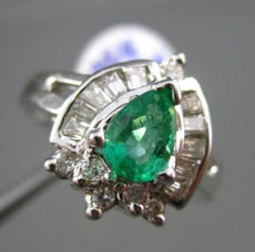 ESTATE WIDE 1.48CT DIAMOND & AAA COLOMBIAN EMERALD 14KT WHITE GOLD COCKTAIL RING