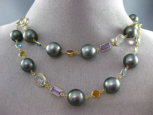 ESTATE LONG 54.26CT MULTI COLOR GEM 18KT YELLOW GOLD PEARL BY THE YARD NECKLACE