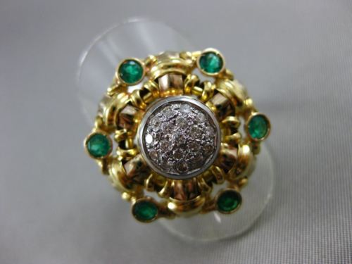 ANTIQUE LARGE 1.56CT DIAMOND & EMERALD 14KT 2TONE GOLD FILIGREE WOVEN RING 21277