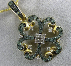 ESTATE .69CT DIAMOND & ALEXANDRITE 14KT YELLOW GOLD 3D FLOWER HEART LOVE PENDANT