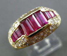 ANTIQUE WIDE 2.3CT DIAMOND & RUBY 18K YELLOW GOLD PAST PRESENT FUTURE RING 22031