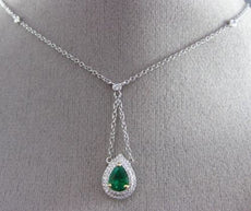 ESTATE .95CT DIAMOND & EMERALD 18KT 2 TONE GOLD HALO LARIAT BY THE YARD NECKLACE