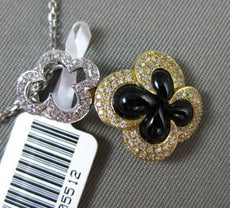 ESTATE .23CT DIAMOND & ONYX 14KT TWO TONE GOLD 3D DOUBLE FLOWER FLOATING PENDANT