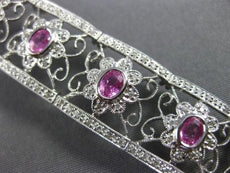 ESTATE WIDE 4.47CT DIAMOND & AAA PINK SAPPHIRE 14KT WHITE GOLD FLORAL BRACELET