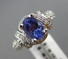 ESTATE WIDE 2.51CT DIAMOND & TANZINITE 18KT WHITE GOLD INFINITY ENGAGEMENT RING