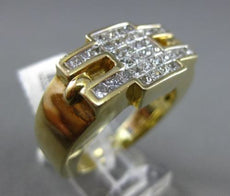 ESTATE MASSIVE 1.05CT PRINCESS CUT DIAMOND 14KT YELLOW GOLD INVISIBLE MENS RING