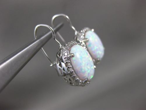 LARGE 3.60CT DIAMOND & AAA OPAL 14KT WHITE GOLD HALO LEVERBACK HANGING EARRINGS
