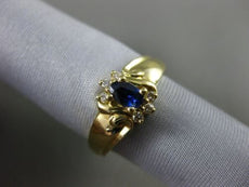 ESTATE .56CT DIAMOND & SAPPHIRE 14KT YELLOW GOLD FLOWER CLUSTER ENGAGEMENT RING