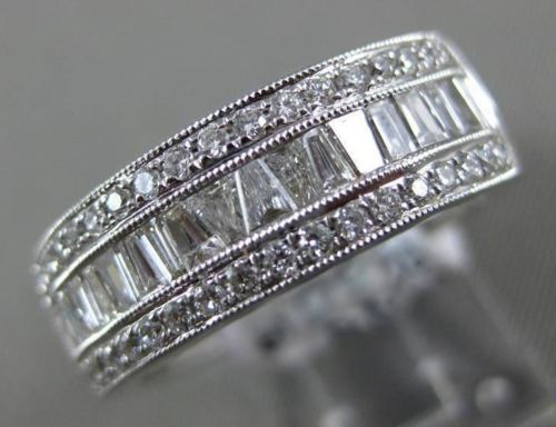 .75CT ROUND & BAGUETTE DIAMOND 18KT WHITE GOLD 3D SEMI ETERNITY ANNIVERSARY RING