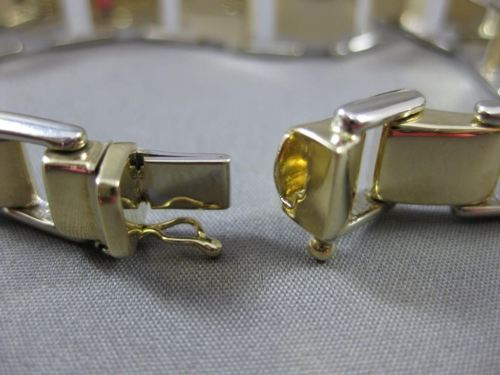 ESTATE WIDE & LONG 14KT WHITE & YELLOW GOLD 3D SQUARE LINK WOMEN BRACELET #22865