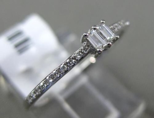 .14CT ROUND & BAGUETTE DIAMOND 14K WHITE GOLD 3D DOUBLE STONE SEMI ETERNITY RING