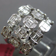 ESTATE LARGE 2.01CT DIAMOND 18KT WHITE GOLD 3D MULTI ROW SQUARE ANNIVERSARY RING