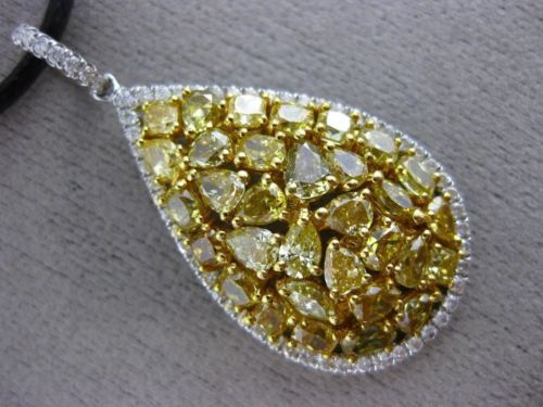 EXTRA LARGE 4.62CT WHITE & INTENSE YELLOW DIAMOND 18K TWO TONE GOLD LOVE PENDANT