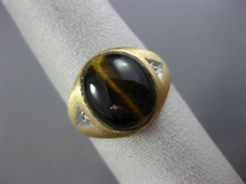 ESTATE AAA TIGER EYE 14KT YELLOW GOLD 3D CLASSIC 3 STONE MATTE SOLID MENS RING