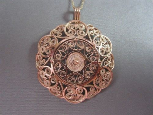 ANTIQUE XL FLOWER CIRCLE FIILIGREE 14K ROSE GOLD 15MM X 42MM PENDANT #21874