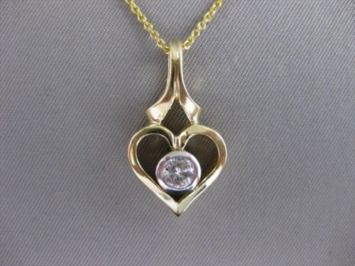 ESTATE .30CTW DIAMOND 14K 2 TONE GOLD OPEN 3D HEART SOLITAIRE PENDANT VVS #9614