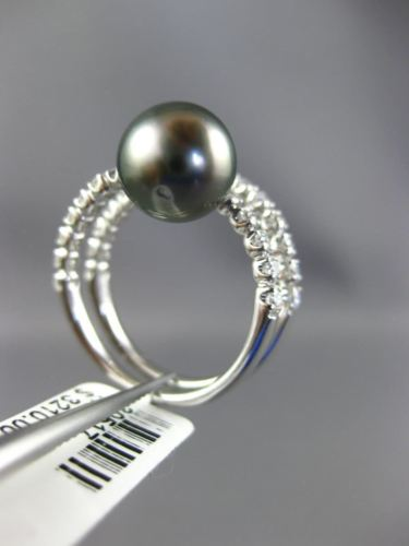 WIDE .6CT DIAMOND & AAA SOUTH SEA TAHITIAN PEARL 18K WHITE GOLD CRISS CROSS RING