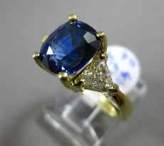 ESTATE LARGE 5.20CT DIAMOND & SAPPHIRE 18KT YELLOW GOLD 3 STONE ENGAGEMENT RING