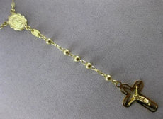 ESTATE LONG 14KT YELLOW GOLD 3D HANDCRAFTED MARYS ROSARY CROSS NECKLACE #23487