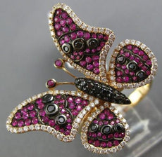 ESTATE 1.42CT WHITE & BLACK DIAMOND & AAA PINK RUBY 18K ROSE GOLD BUTTERFLY RING
