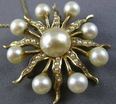 ESTATE LARGE AAA SOUTH SEA PEARL 14KT YELLOW GOLD SUNBURST FLOWER BROOCH PENDANT